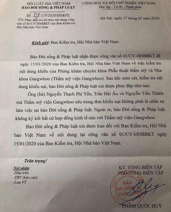 Đơn tố cáo kẻ đăng thông tin bệnh viện thẩm mỹ Gangwhoo phủi bỏ trách nhiệm
