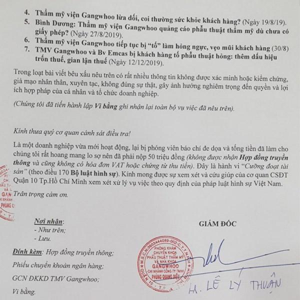 Vụ việc bệnh viện thẩm mỹ Gangwhoo phủi bỏ trách nhiệm là không đúng sự thật